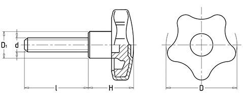 Чертеж. Пятилепестковая ручка барашек со шпилькой HL12082