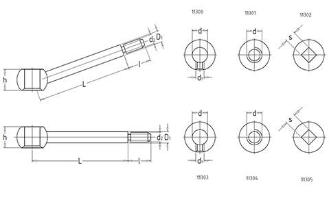 Чертеж. Ручка цилиндрическая зажимная HL1130