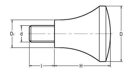 Чертеж. Ручка в виде грибка со шпилькой HL12011