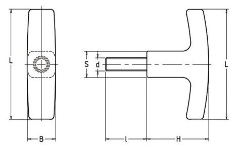 Чертеж. Т-образные ручки со шпилькой HL12191