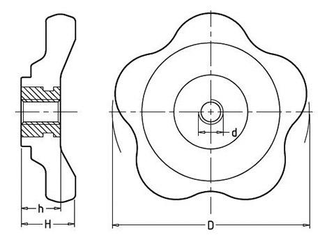 Чертеж. Вентиля для крана пластиковые с внутренней резьбой HL12212