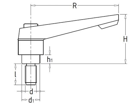 Чертеж. Рычаг зажимной со шпилькой HL11141