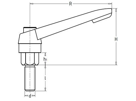 Чертеж. Зажимной рычаг со шпилькой HL11381