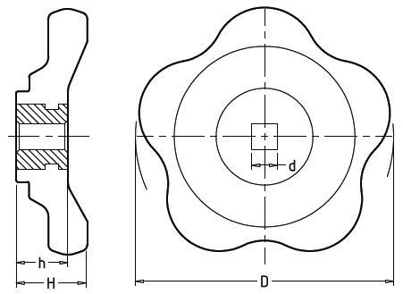 Чертеж. Вентиля для крана пластиковые с квадратным отверстием HL12211