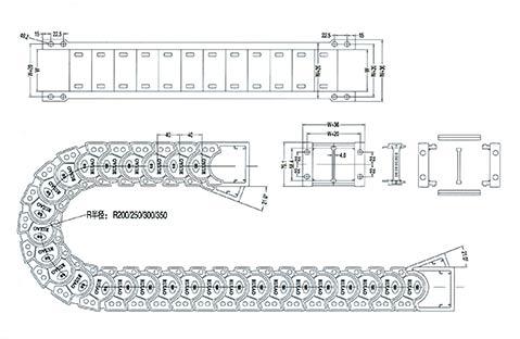 Чертеж. Бесшумный кабель канал TLJ58F (энергоцепь)