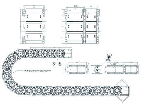 Чертеж.Кабеленесущие цепи эстетичные TLX56F (энергоцепь)