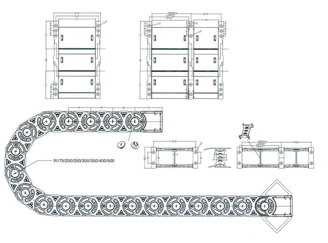Чертеж.Кабеленесущие цепи эстетичные TLX56F(кабель канал)
