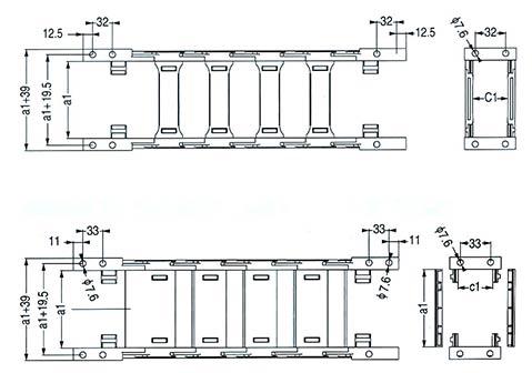 Чертеж.Подвижный кабель канал TZ35(энергогусеница)