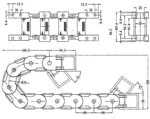 Чертеж.Подвижный кабель канал гибкий TZ35.60(кабельная цепь)