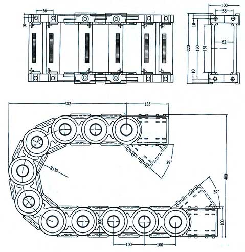 Чертеж.Подвижный кабель канал усиленный TZ62.150(кабельная цепь)