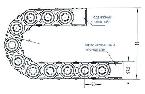 Чертеж.Подвижный усиленный кабель канал TZ56(кабельная цепь)