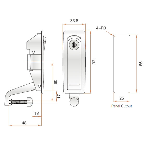 Замок-ручка компрессионная MS606 для металлического шкафа с регулируемым прижимом. Чертеж