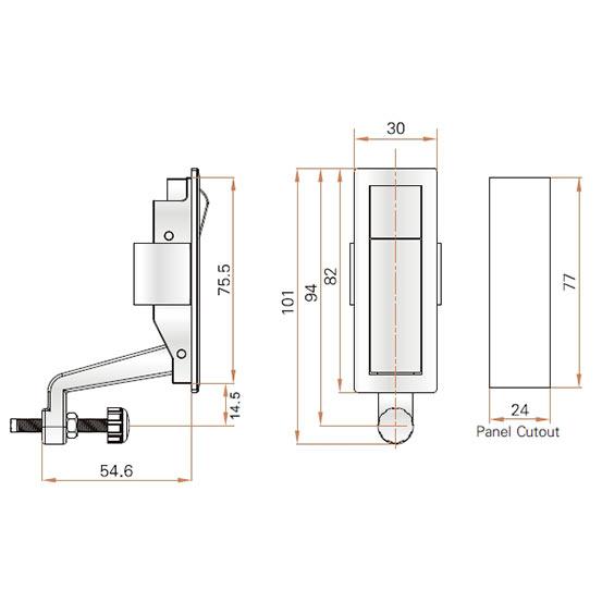 Ручка-замок компрессионная MS708 для металлического шкафа с регулируемым прижимом. Чертеж