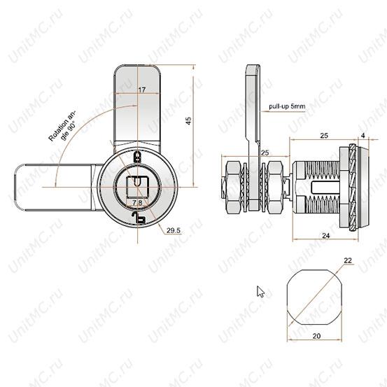 цилиндровый компрессионный замок MS711-3