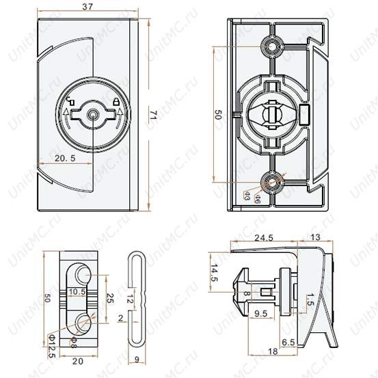 Чертёж.Замок-ручка дверцы шкафчика MS891