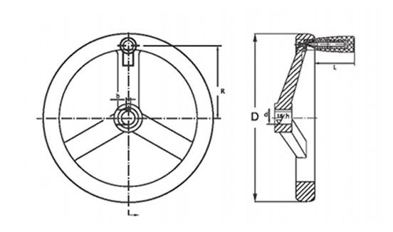 Маховик со складной ручкой чугунный QS1004.19 Размеры