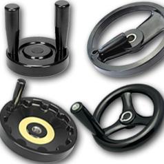 Бакелитовые маховики (штурвалы) дисковые и на спицах с вращающимися и складными ручками