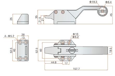 Ручка замок LS13-2-1 FeiLei прижимная для холодильных и сушильных камер. Чертеж с размерами