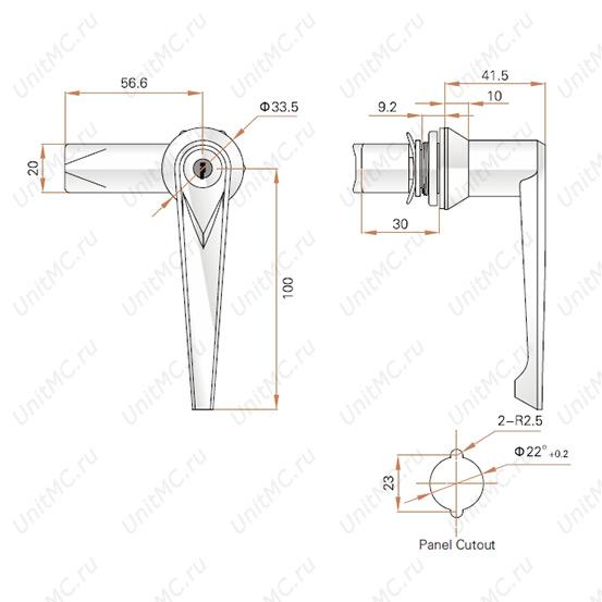 Ручка-замок MS301-1 FeiLei поворотная для шкафчика