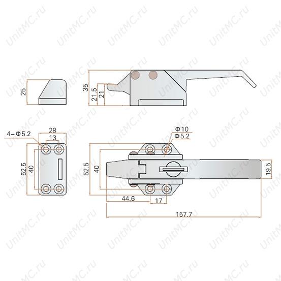 Ручка защелка LS13-1-1 FeiLei промышленная блокировки двери холодильника. Чертеж с размерами