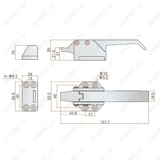 Ручка защелка LS13-1-2 для холодильных камер и духовых шкафов. Чертеж с размерами