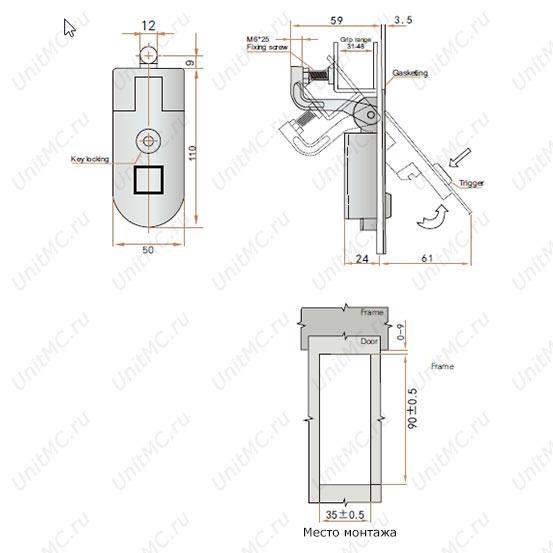 Чертеж компрессионного замка MS718 для металлического шкафа с регулируемым прижимом