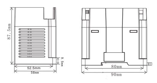 LX3V-4DA Wecon модуль ПЛК размеры