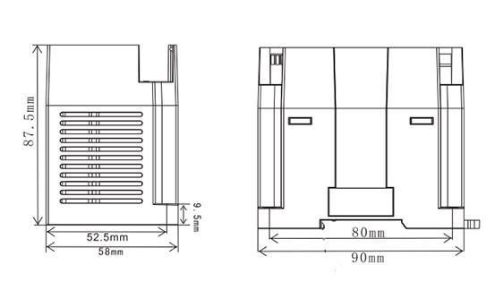 Размеры модуля LX3V-4PT