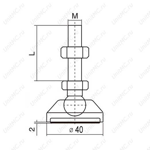 Чертеж шарнирной винтовой опоры с основанием 40 мм
