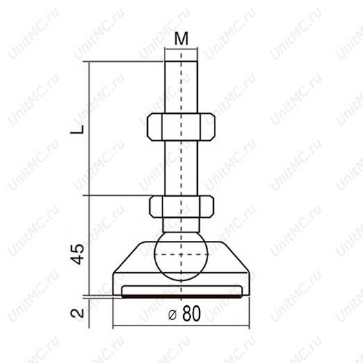 Чертеж винтовой регулируемой опоры с основанием 80 мм