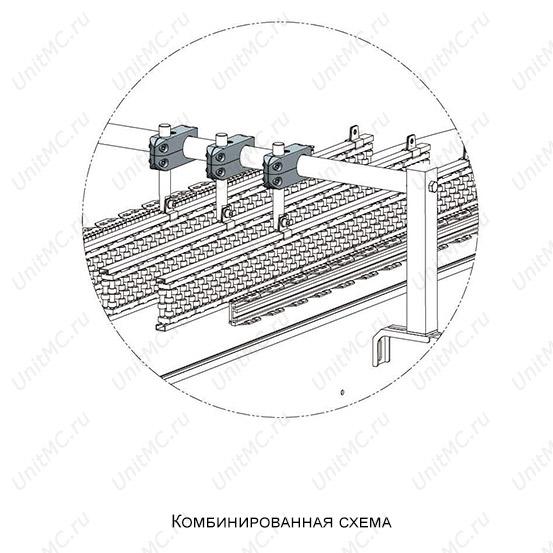 Схема монтажа.Поперечный зажим для круглой трубы
