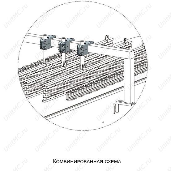 Схема монтажа.Поперечный зажим для квадратной трубы